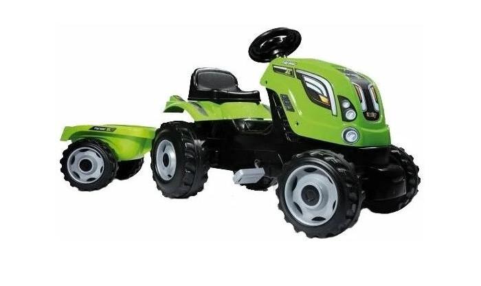 Smoby Трактор педальный XL с прицепомТрактор педальный XL с прицепомSmoby Трактор педальный XL с прицепом, 0.142 х 0.044 х 0.055 см благодаря этому трактору, ваш ребенок больше времени будет  проводить на свежем воздухе. А также, будет стимулировать желание ребенка вам помочь  по господартсву. Ведь благодаря прочному и вместительному  прицепу, ваш малыш сможет перевезти песок, камни, или урожай с грядок.   Педали трактора при необходимости фиксируются, таким образом, транспорт более устойчивый и безопасный для малыша. Передние колеса поворотные, что делает трактор более маневренным.   Идеальный подарок для мальчика на 3 годика!  Управление рулевое  Приводится в движение педалями  Цепной привод на заднее левое колесо  Прицеп съемный  колеса пластмассовые  Капот открывается  Максимальная нагрузка 50 кг  Возраст: Рекомендуется детям от 3 лет до 12 лет.<br>