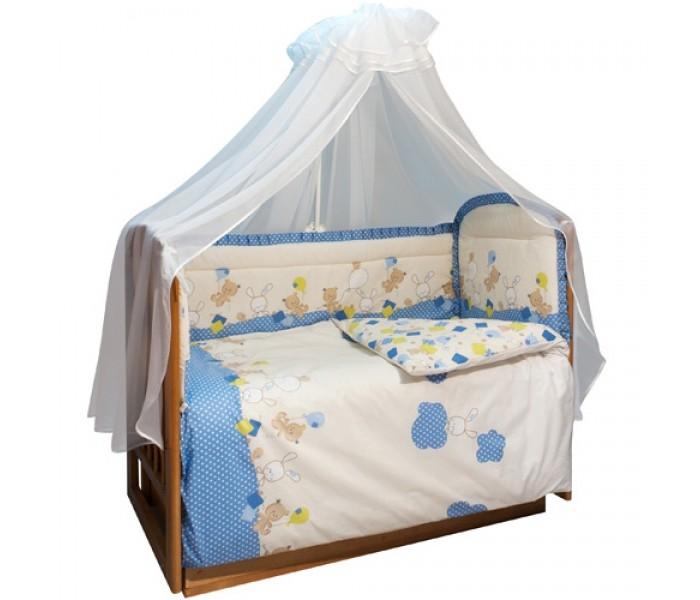Комплект в кроватку Soni Kids В уютных облачках (7 предметов)В уютных облачках (7 предметов)Очень красивый высококачественный комплект в кроватку, состоящий из 7 предметов.   Ткань: поплин.  Состав: 100% высококачественный хлопок,  Наполнитель: холлофайбер. Балдахин: вуаль или сетка 100% п/э.  Размеры: Пододеяльник- 140х110  Простынка на резинке - 150х90 Наволочка -60х40  Одеяло -140х110  Подушка -60х40  Балдахин -420х165  Бортик -360х44<br>