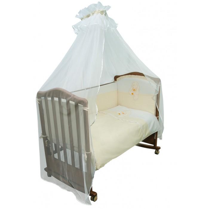 Комплект в кроватку Сонный гномик Пушистик (7 предметов)Пушистик (7 предметов)Коллекция постельного белья «Пушистик» из высококачественного сатина:   состав ткани: сатин, 100% хлопок безупречной выделки  отделка вышитой аппликацией «Медвежонок» или «Зайка»  деликатные швы, рассчитанные на прикосновение к нежной коже ребёнка  бельё сертифицировано, полностью безопасно и гипоаллергенно  высокий бортик по всему периметру кроватки  наполнитель бортика ПериоТек плотностью 400  большой балдахин из тончайшей сетки  выпускается в размере для кроватки 120х60см   Состав комплекта, 7 предметов:   Бортик (раздельный на 4 стороны, высота 50см, синтепон, 120х60см   Балдахин (сетка, сатин, 170х400см)  Наволочка 40х60см  Пододеяльник 110х140см  Простыня 140х100см  Одеяло (110х140см, шерсть 80%, ПЭ 20%)  Подушка (40х60см, шерсть 80%, ПЭ 20%)<br>