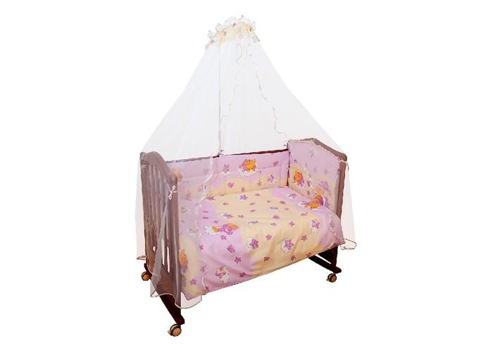 Комплект в кроватку Сонный гномик Мишкин сон (7 предметов)Мишкин сон (7 предметов)Полный комплект постельного белья из бязи, с купонным рисунком. 100% хлопок.    Бортик несъемный (раздельный на 4 стороны на весь периметр кроватки 120х60см, высота 38 см)  Балдахин (сетка, бязь, 170х450 см)  Пододеяльник 110х140 см  Простынь без резинки 140х100 см  Одеяло (110х140 см, синтепон, ПЭ 100%)  Подушка (40х60 см, синтепон, ПЭ 100%)  Наволочка (40х60 см)  Ткань: бязь 100 % хлопок  Выпускается в трех цветах: Голубой, Розовый, Бежевый  Артикул: 703.  Дополнительно Вы так же можете заказать постельный комплект арт.303 «МИШКИН СОН» 3 предмета и Бортик в кроватку «Мишкин сон», Держатель для балдахина универсальный.  Упаковка: Чемодан из прозрачного ПВХ (с кедером и ручками из капроновой ленты) с полноцветной этикеткой ТМ Сонный Гномик. Размер 50х60х20 см. Вес 4,2 кг. Изделие снабжено штрихкодом в системе EAN13. Изделие сертифицированно для продажи на территории РФ.<br>
