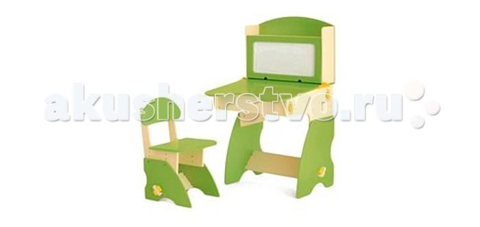 Столики Детям Комплект столика с магнитной доской со стульчиком ФантазерКомплект столика с магнитной доской со стульчиком ФантазерСтолики Детям Комплект столика с магнитной доской со стульчиком Фантазер прекрасно подойдет детям для развития творческих способностей. На магнитной поверхности можно крепить цветные магнитики или рисовать маркером и легко стирать рисунки. Магнитная доска поднимается и фиксируется в вертикальном положении, открывая свободный доступ к внутренним полкам.   Особенности: Столик содержит просторное отделение для магнитов и маркеров! Регулировка под рост ребенка позволит использовать комплект в течение нескольких лет, сохраняя его здоровье. Подходит детям в возрасте от 3-до 8 лет.  При откидывании столешницы открывается просторное отделение для детских принадлежностей. Использована безопасная откидная конструкция для детей.  Экологические материалы: МДФ, краска на водной основе.  Размеры парты: 4 положения высоты, два положения столешницы (с уклоном и без). Полная высота столика: от 90 см до 105 см. Высота до столешницы: от 50 см до 65 см. Ширина и глубина столика: 60 см. Размер столешницы: ширина 60 см, глубина – 45 см (в выемке 35 см).    Размеры стульчика:  4 положения высоты: от 65 см до 75 см. Высота до сиденья: от 30 см до 39 см. Ширина 35 см, глубина – 40 см. Ширина и глубина сиденья – 35 см.<br>