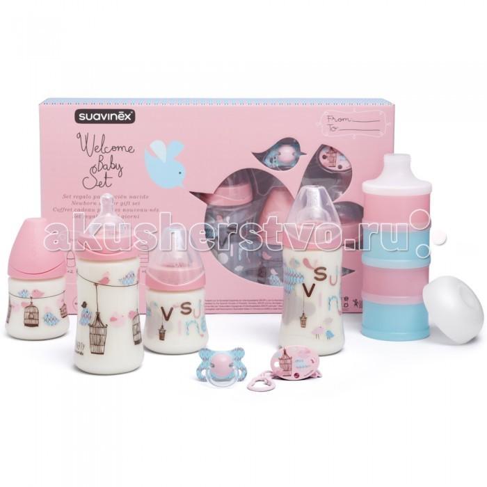 Suavinex Набор для кормления (7 предметов)Набор для кормления (7 предметов)Набор для кормления (7 предметов) Suavinex включает  2 бутылочки 270 мл 2 бутылочки150 мл Пустышка силиконовая Держат для пустышки Дозатор для смеси  Возрастная категория: 0-1 год. Материал посуды: пластик, силикон. Особенности посуды: для детей,мытье в посудомоечной машине, набор, разрешено для микроволновой печи. Особенности бутылочки для кормления: антиколиковая.<br>