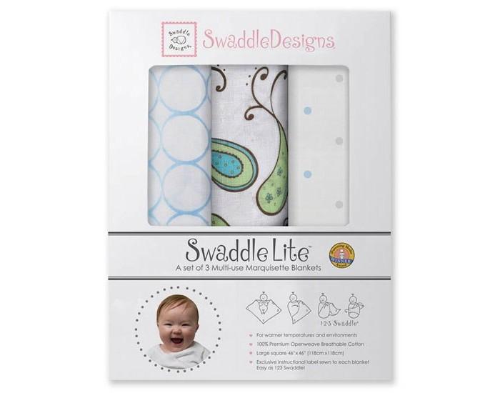 Пеленка SwaddleDesigns SwaddleLite Paisley комплект 3 шт.SwaddleLite Paisley комплект 3 шт.Комплект пеленок SwaddleDesigns SwaddleLite Paisley для новорожденного в красивой фирменной упаковке, состоит из трех легких пеленок серии Marquisette SwaddlingBlanket.  Особенности: Легкие, дышащие из мягкого хлопка маркизет. Эти волшебные пеленки действительно помогают новорожденным спать сном младенца. Замечательный вариант для теплого времени года и дома. Легко следовать инструкции пеленания пришитой к пеленке. Оптимальный, большой размер пеленки 120х120 сантиметров! Ваш ребенок не вырастет быстро из пеленки. Многофункциональные и универсальные. Используйте для пеленания, как легкое одеяло, солнечный козырек, накидку для кормления грудью, при болях в животике. Эту пеленку вы будете использовать на протяжении нескольких лет и не пожалеете о покупке. Дизайн разработан медсестрой Линетт Дамир. Победитель множества наград. Лауреат премии Великий дар (Award Winner Great Gift). Рекомендованы педиатрами и мамами во всем мире. Состав 100% хлопок маркизет, высшего качества<br>