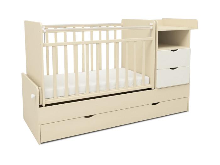 Кроватка-трансформер Sweet Baby Valentino (поперечный маятник)Valentino (поперечный маятник)Кроватка-трансформер Sweet Baby Valentino станет прекрасным украшением для комнаты Вашего малыша.  Особенности: Детская кроватка-невероятное сочетание цены, качества и количества мебели:   - кроватка для новорожденных.   - диванчик.   - кровать подростковая.   - и ко всему этому вместительный комод, и большие напольные ящики.  Высококачественная детская кровать трансформер, разработанная с учётом всех требований удобства и безопасности.   - ортопедическое основание.   - два уровня днища.   - полимерные накладки грызунки.   - крепление комода с любой стороны.   - опускающаяся боковина.   - комод с тремя выдвижными ящиками.<br>