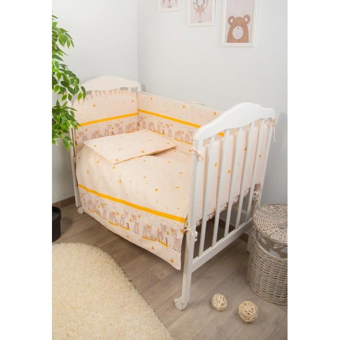 Комплект в кроватку Тайна Снов Оленята (7 предметов)Оленята (7 предметов)Кроватка Вашего малыша будет неотразимой и очень уютной. Ведь в комплект входит все необходимое для крепкого и безопасного сна малыша.  Характеристики: состав ткани: самая нежная бязь, 100% хлопок безупречной выделки ткань с забавным рисунком деликатные швы, рассчитанные на прикосновение к нежной коже ребёнка бельё сертифицировано, полностью безопасно и гипоаллергенно высокий бортик на весь периметр кроватки наполнитель бортика Холлкон плотностью 300 наполнитель одеяла и подушки Файберпласт большой балдахин из тончайшей сетки выпускается в размере 120х60 см  Комплект состоит из: 4.5 метрового балдахина бортика из 4х частей высотой 38 см на весь периметр кроватки одеяла (размер 110х140 см) пододеяльника (110х140 см) подушки (размер 40х60 см) наволочки (40х60 см) простыни (не на резинке, размер 100х140 см)<br>