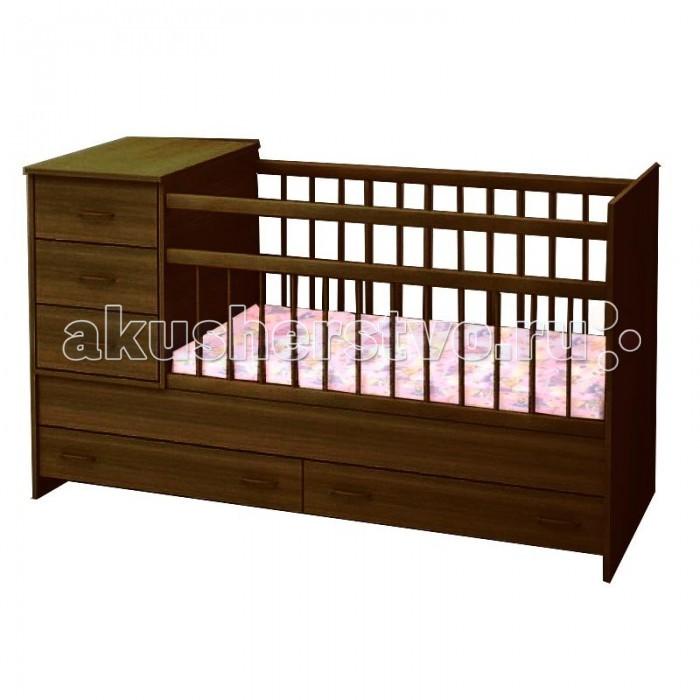 Кроватка-трансформер Топотушки АлисаАлисаКроватка-трансформер Топотушки Алиса   Удобная и функциональная детская кроватка-трансформер Алиса предназначена для новорожденных детей и используется до 7-10 лет. Высокое качество отделки, сохраняющее природный рисунок дерева. Для окраски применяются лаки, не содержащие вредных для здоровья ребенка веществ.   Особенности:  Кровать изготовлена из натуральной древесины – массив березы (обеспечивает высокую прочность и долговечность изделию)  Обработана экологически чистым и безопасным для здоровья лаком  3 уровня ложа (120х60 + 40х60) Два объемных ящика для удобства хранения детских вещей, постельных принадлежностей, памперсов или игрушек  Тумбочка с тремя ящиками устанавливается справа или слева Опускающаяся боковина Тумба снимается и кровать превращается в подростковую Отсутствие выступающих углов и неровностей, что обеспечивает безопасность для малыша Защитные ПВХ накладки (грызунки) Внутренние размеры ложа: 120 х 60 см Тумбочка: 40 х 60 см Габаритные размеры: 173 х 65 х 99 см  * К данной кровати необходимо приобрести, кроме основного матраса.- дополнительный блок для кровати трансформер. Начиная использовать кровать (трансформер) как кушетку, необходимо использовать дополнительный блок матраса (40х60).<br>
