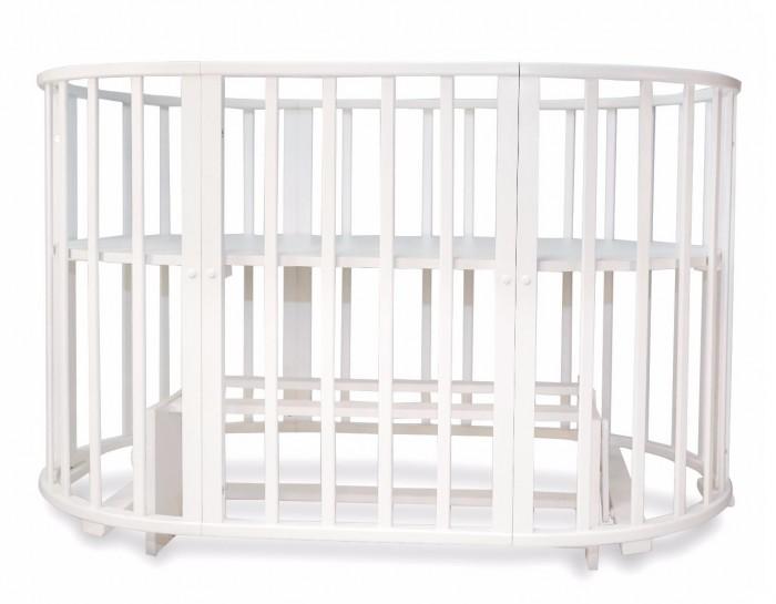 Кроватка-трансформер Valle Mimi овальная 6 в 1 (маятник поперечный)Mimi овальная 6 в 1 (маятник поперечный)Детская кроватка Valle Mimi овальная 6 в 1 маятник поперечный сочетает в себе комфорт, функциональность, практичность и при этом оригинальный дизайн.   Особенности: Модель производится отечественным брендом из качественной древесины, ложе кроватки выполнено из неокрашенного ДСП, что в сумме гарантирует демократичную ценовую политику, сопоставимо с качеством. В первые месяцы жизни ребенку не нужна большая кровать и модель Valle Mimi может превратится в небольшую круглую колыбель с регулируемым по высоте ложем и отдельный комод для полезных принадлежностей. Когда же ребенок подрастет, кровать Valle Mimi может принять базовый размер и прослужит несколько лет. С опущенным до низа дном, кровать Valle Mimi может выполнять функцию игрового манежа для ребенка. Кроватка характеризуется простым монтажом и регулировкой уровня ложа. Для окрашивания использованы безопасные лаки и краски. Для кровати Valle Mimi подойдет любой детский комплект на усмотрение родителей. Защитные бамперы-накладки, в случае их наличия, на кроватку фиксируются с помощью традиционных завязок.  Система 6 в 1: большая овальная кровать , круглая кровать , манеж, кресло, стол, маятник 2 маятниковые системы, для круглой и овальной кровати. Внутренние габариты кровати: 125 х 75 см или 75 х 75 см<br>