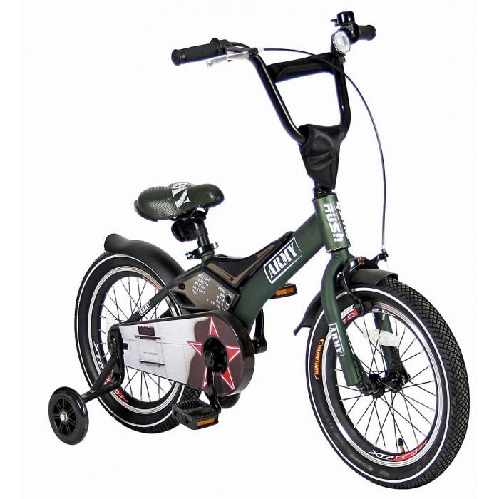 Велосипед двухколесный Velolider Rush Army 18Rush Army 18Велосипед двухколесный Velolider Rush Army 18 отвечает самым высоким стандартам качества.  Особенности: Все модели сделаны эксклюзивно для бренда Velolider и для российского покупателя. Все велосипеды Velolider проходят неоднократную проверку качества в процессе изготовления и заводской сборке, поэтому при соблюдении всех правил эксплуатации и обслуживания, велосипед прослужит Вам длительный срок. Очень высокие эргономичные рули с высококачественными выносами руля. Передний светоотражатель над рулевой колонкой, задний - под сиденьем.  На спицах переднего и заднего колес - большие светоотражатели. Безопасность: 10 баллов.  Диаметр колес: 18.  Рама: сталь.  Вилка передняя: сталь жесткая. Втулка передняя: QUANDO.  Втулка задняя: QUANDO.  Тормоза: передний: ручной, задний: ножной.  Покрышки: YIDA 18х2,125. Крылья: сталь.  Педали: пластик.  Широкое седло с поддерживающей ручкой сзади.   Количество скоростей: 1.  Рулевая колонка: сталь. Шатуны: квадрат, сталь.  Обода: сталь.  Пластиковая защита цепи. Удобные резиновые ручки из формованной двухслойной цветной резины с ограничителем на концах - рука ребенка будет защищена от ударов.  Сиденье заслуживает особого внимания, потому что наши инженеры учли анатомические потребности детей и пожелания их родителей.  Сиденье VELOLIDER очень широкое, с 2-мя выпуклостями сзади и пластиковым бортиком для поддержки.  Во всех моделях - подседельные эксцентрики - это полноценные прочные стальные эксцентрики. Для того, чтобы изменить высоту сиденья, инструменты не нужны. Это очень удобно.  Очень надежные и легкие тренировочные боковые колеса- очень красивые, полупрозрачные, полиуретановые. Очень высокий эргономичный руль с высококачественным выносом руля.  Изящные стальные крылья необычной формы.  Передний светоотражатель - на руле, задний- под сиденьем. На спицах переднего и заднего колес- большие светоотражатели.  Безопасность - 10 баллов.  На руле - стильный декоративный элемент и