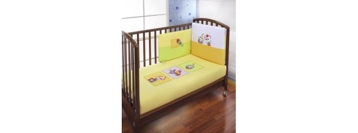 Комплект в кроватку Feretti Puppet Sestetto Plus (3 предмета + борт + спальный мешок + балдахин)Puppet Sestetto Plus (3 предмета + борт + спальный мешок + балдахин)Feretti является инновационной маркой натурального детского постельного белья из хлопка. Благодаря высокому качеству, богатству выбора форм и узоров каждый найдет что-нибудь для своего ребенка.  Особенности:  При производстве используется натуральный наполнитель Ingeo - волокно, получаемое в результате ферментации и полимеризации зерен кукурузы. Наполнитель из волокон Ingeo обеспечивает прекрасную теплоизоляцию, удерживая постоянную температуру во время сна ребенка. Бактериостатические ткани Purista замедляют развитие бактерий, и являются гипоаллергенными.  Система Easy Wash облегчает стирку борта в стиральной машине без риска нарушения наполнения. Система Easy Iron - после того, как вытянете постельное белье из стиральной машины достаточно его только растянуть, а после того как высохнет не нужно гладить. Система Even Fill - равномерное размещение наполнения в одеялах, устраняющее «холодные зоны». Изысканный дизайн. Приятные расцветки с забавными рисунками. Мягкие материалы не раздражают кожу ребенка.  Удобство и простота в использовании пододеяльник на молнии.  Простынка на резинке не позволит лишним складкам воздействовать на кожу ребенка. Качество материала обеспечивает лёгкость стирки и долговечность.   В комплекте: пододеяльник (100 х 135 см),  простыня на резинке,  наволочка (40 х 60 см), борт на половину кроватки: 190 х 40 см спальный мешок балдахин  Материалы:  хлопок,  наполнитель на основе кукурузного волокна.<br>