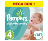 Pampers Подгузники Active Baby-Dry р.4 (8-14 кг) 147 шт.
