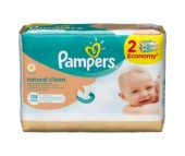 Pampers Салфетки Naturally Clean запасной блок 2х64 шт.