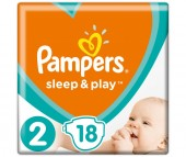 Pampers Подгузники Sleep & Play Стандарт р.2 (3-6 кг) 18 шт.