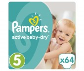 Pampers Подгузники Active Baby-Dry р.5 (11-18 кг) 64 шт.