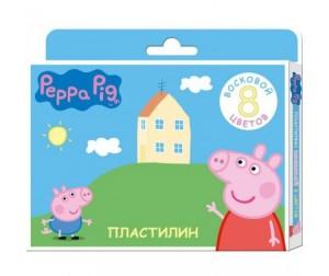 Купить Свинка Пеппа (Peppa Pig) Пластилин восковый 8 цветов