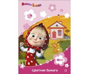 Купить Маша и Медведь Цветная бумага 10 листов цветов двухсторонняя