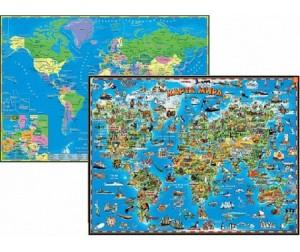 Купить Геоцентр Детская карта мира двусторонняя настольная