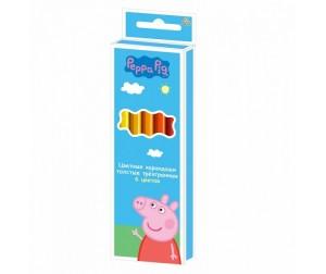 Купить Свинка Пеппа (Peppa Pig) Карандаши цветные толстые 6 цветов