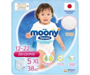 Moony Подгузники-трусики для девочек XL (12-17 кг) 38 шт.