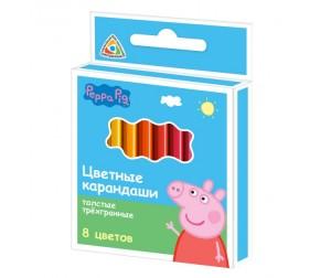 Купить Свинка Пеппа (Peppa Pig) Цветные карандаши короткие трёхгранные толстые 8 цветов