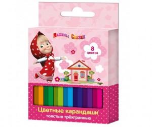 Купить Маша и Медведь Цветные карандаши короткие толстые трёхгранные 8 цветов