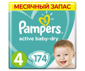 Pampers Подгузники Active Baby-Dry р.4 (8-14 кг) 174 шт.