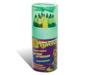 Купить Kuso Карандаши цветные трехгранные JUMBO мини Черепашки-ниндз, 12 цветов