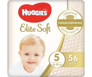 Huggies Подгузники Elite Soft Mega 5 (12-22 кг) 56 шт.