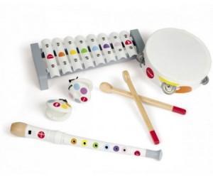 Купить Музыкальная игрушка Janod Набор белых музыкальных инструментов - металлофон, флейта, бубен, кастаньеты