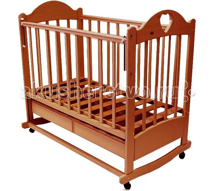 Детская кроватка Ведрусс Таисия №2 качалкаТаисия №2 качалкаДетская кроватка Ведрусс Таисия №2 качалка настоящая надежная кроватка для ценителей качества.   Кроватка качается очень легко и гарантирует Вашему малышу моментальное засыпание. А все благодаря встроенному в ее конструкцию механизму плавного маятникового качания. Вы с лёгкостью сможете зафиксировать кроватку и в неподвижном состоянии.   Детская кроватка оснащена большим выдвижным ящиком. Ящик является поистине огромным, благодаря ему у Вас просто отпадёт необходимость в приобретении дополнительного шкафа для хранения детских вещей и принадлежностей.  Особенности: три положения ложа  ПВХ-накладка  трансформируется в диван  реечное основание кроватки  отсутствие выступающих углов и неровностей, что обеспечивает безопасность для малыша  материал – береза (обеспечивает высокую прочность и долговечность)  древесина обработана экологически чистым лаком<br>
