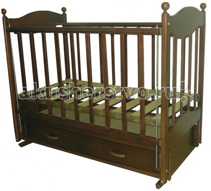 Детская кроватка Ведрусс Эля продольный маятникЭля продольный маятникДетская кроватка Ведрусс Эля продольный маятник считается одной из самых удобных – она обеспечивает плавное качание ребенка и облегчает маме уход за малышом, особенно в первые месяцы его жизни. Дно детской кроватки можно регулировать по высоте в зависимости от возраста ребенка, то есть пока он не научился сидеть, дно кроватки устанавливается в верхнее положение, а затем - в нижнее положение.   Выдвижной ящик детской кроватки очень функциональное и практичное дополнение к кроватке – он может использоваться для хранения постельного белья и всего, что должно быть «под рукой» у мамы. Ящик оснащен металлическими направляющими с лёгким скольжением.  Характеристика: маятниковый механизм закрытый выдвижной ящик  автостенка  ПВХ-накладка  инкрустирована «сердечком»  2 уровня ложе кроватки  трансформируется в диван  реечное основание кроватки  отсутствие выступающих углов и неровностей, что обеспечивает безопасность для малыша  материал – береза (обеспечивает высокую прочность и долговечность)  древесина обработана экологически чистым лаком размер спального места: 120х60 см размер кроватки: 125 х 78 х 106 см<br>