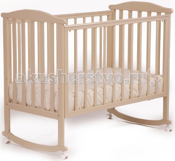 Детская кроватка Кубаньлесстрой АБ 15.0 Лютик качалка без ящикаАБ 15.0 Лютик качалка без ящикаДетская кроватка-качалка Кубаньлесстрой АБ 15.0 Лютик без ящика - простая и функциональная. Конструкция кроватки выполнена из натурального дерева - массива бука.   Древесина бука - идеальный материал для детской мебели, экологически чистый, не боящийся влаги и долговечный, а на покрытие идут только нетоксичные краски и лаки. К тому же природный цвет дерева оказывает благотворное, успокаивающее воздействие на человеческую психику, вызывая чувство уюта и комфорта.   Малышам в первые месяцы жизни безусловно придется по нраву такая особенность кроватки, как качалка. Позже, когда необходимость в ней исчезнет, просто зафиксируйте кроватку, установив колесики с надежными стопорами.   Неподвижность конструкции обеспечивает фиксация колес.  механизм качания: колесо-качалка габаритные размеры в собранном виде (мм) (ДхШхВ): 1250 х 720 х 1080 колеса: есть кол-во уровней дна: 3 опускающаяся передняя стенка: есть/2 положения съемная передняя стенка:есть вынимающиеся рейки: есть/3 рейки защитные накладки: есть вес в упаковке: 18.7 габаритные размеры упаковки: 1250 х 740 х 140 материал кровати: массив бука ящик под кроватью: нет самоориентирующиеся колеса (съемные)  отсутствуют острые углы  древесина обработана экологически чистым лаком  безопасное расстояние между рейками 80 мм   В расцветке слоновая кость цвет ложа может быть белым (зависит от поставки).  Кроватка с 3-мя съёмными рейками на передней стенке<br>