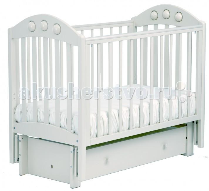 Детская кроватка Кубаньлесстрой АБ 24.3 Орхидея маятник продольный с ящиком