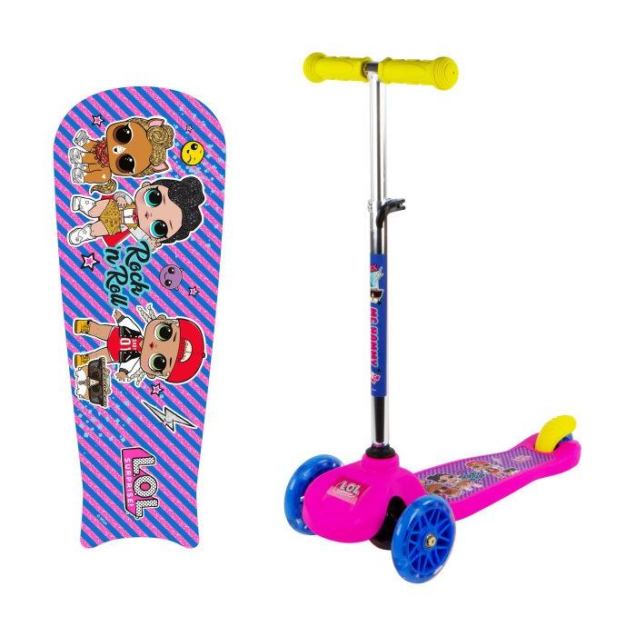 Трехколесный самокат 1 Toy Кикборд со светящимися колёсами LOL