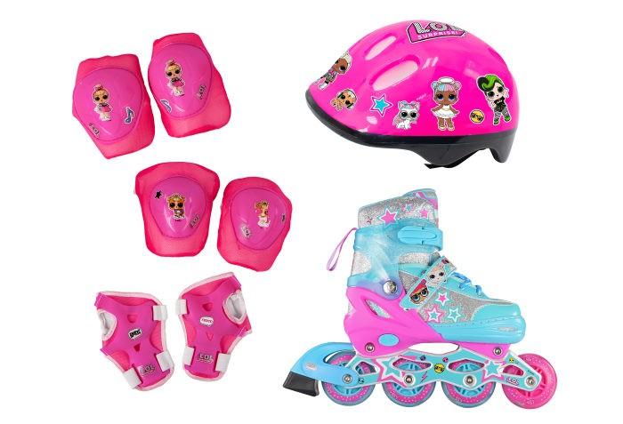 Детские ролики 1 Toy Роликовые коньки колеса со светом с защитой и шлемом