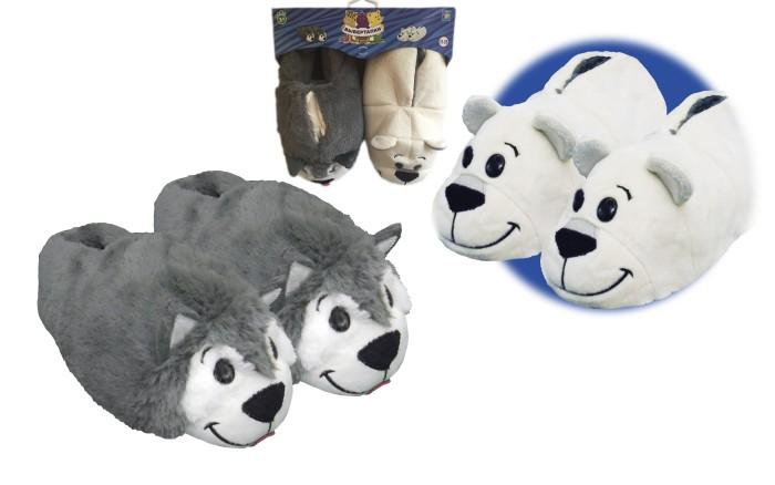 1 Toy Вывертапки Хаски-Полярный медведьДомашняя обувь<br>1 Toy Вывертапки Крокодил-Медведь это очень необычная детская домашняя обувь 2 в 1.   Вывертапки выглядят как милые плюшевые игрушки, однако, это самые настоящие уютные тапочки, в которых так приятно ходить дома. Тапочки в виде двух собак породы Хаски таят в себе большой сюрприз. Стоит только с помощью лёгкого выворачивающего движения вывернуть Вывертапки наизнанку, как один зверёк превращается в другого! Собачку сменяет белый полярный медведь! Тапочки Вывернушки словно новые!