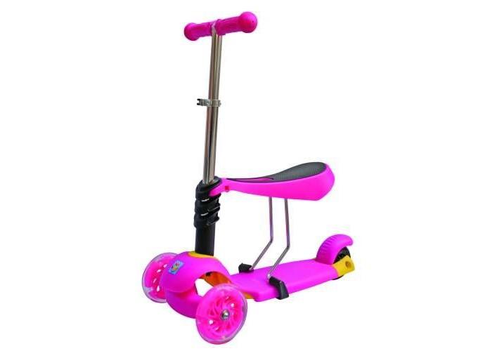 Трехколесный самокат 1 Toy 3 в 13 в 11 Toy Самокат 3 в 1 Т59525 поможет ребенку не только весело провести время, но и развить координацию и физическую форму. Руль можно отрегулировать по высоте, в зависимости от роста ребёнка. Самокат очень прост в использовании, сиденье регулируется по высоте. Изготовлен из безопасных материалов.  Особенности: Пол: для девочки; Колеса: Светящиеся; Количество колес: 3; Диаметр колес: передние - 120х28 мм, заднее - 100х5 мм; Макс.нагрузка: 40 кг. Размер: 69х57х14 см<br>