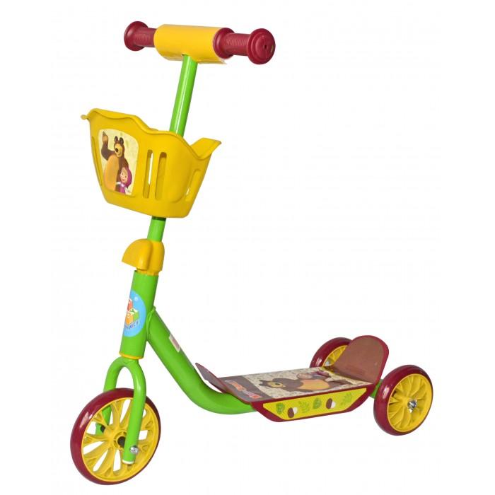 Детский транспорт , Трехколесные самокаты 1 Toy Маша и Медведь с корзиной арт: 312204 -  Трехколесные самокаты