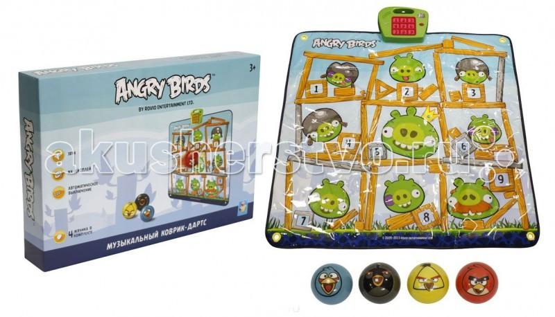 Игровой коврик 1 Toy Музыкальный дартс Angry BirdsМузыкальный дартс Angry BirdsИгровой коврик 1 Toy Музыкальный дартс Angry Birds. Когда ребёнок нажимает ручкой или нажмёт на одну из 9-х зон, то начинает играть детская песенка.   В комплекте: выполненная в стиле Angry Birds мишень и набор из 4 мячиков.   Коврик можно расположить на любой ровной горизонтальной поверхности. либо повесить как настоящую мишень на стене. Для этой цели в уголках коврика сделаны специальные отверстия.   Правила игры: Установите кнопку переключателя в положение ON (ВКЛ). Нажмите на кнопку SELECT (ВЫБОР), для того чтобы выбрать нужный уровень. Смотрите на цифры загорающиеся на главной панели и успейте попасть мячиком по соответствующему номеру свинки. При попадании в цель Вы услышите мелодии и звуки из популярной игры. Игра имеет 3 уровня сложности.  Музыкальный коврик поможет не только в развитии слуха малыша, но и в развитии координации.<br>