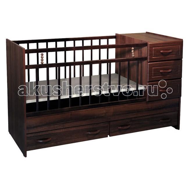 Кроватка-трансформер Ведрусс Раиса с комодомРаиса с комодомКроватка-трансформер Ведрусс Раиса с комодом  Мебельная фабрика Ведрусс - это качественная и доступная детская мебель российского производства. Покупая кроватку-трансформер этой фирмы, вы приобретаете мебель, в которой ваш ребенок сможет спать с самого рождения и до 10-летнего возраста.  Достоинства детской кроватки-трансформера Ведрусс Раиса: Стандартная по длине детская кроватка легко модифицируется в подростковую, размеры которой составляют 175х60 см.  Модель представляет собой спальное место, объединенное с удобным комодом, состоящим из трех полок.  Кроватка имеет классический лаконичный дизайн, который хорошо сочетается практически с любым интерьером.  Дно спального места можно регулировать по высоте, опуская его по мере того, как ваш малыш будет расти.  В нижней части кровати предусмотрены дополнительные ящики для хранения вещей или игрушек.  Съемный комод может также выполнять функции пеленального столика. А когда появится необходимость в удлинении, комод легко снимается и становится самостоятельным предметом интерьера.  Кровать-трансформер для детей от 0 до 10 лет.  Сначала размер 120х60, потом 160х60 см Материал: ДСП, береза, МДФ Ящик: да, комод на 3 ящика, плюс два ящика под кроватью Длина: 1730 мм Ширина: 650 мм Высота: 958 мм Сколько уровней ложе: 2<br>