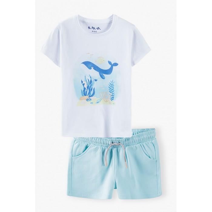 Комплекты детской одежды 5.10.15 Комплект для девочки (футболка и шорты) 3P4004