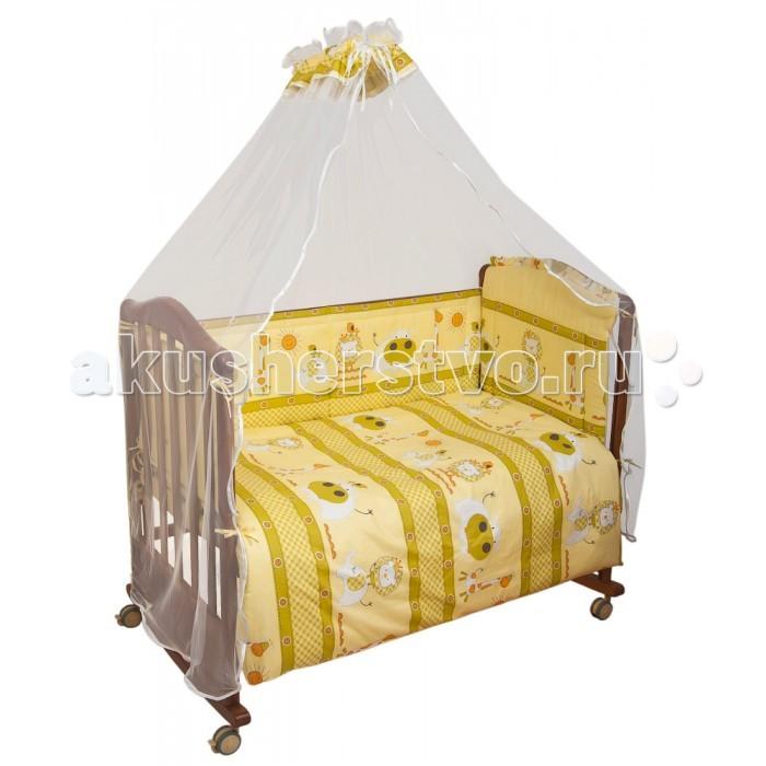 Комплект в кроватку Сонный гномик Лимпопо (7 предметов)Лимпопо (7 предметов)Комплект для кроватки Сонный Гномик Лимпопо 7 предметов сделан из самой нежной бязи, 100% хлопок безупречной выделки, с забавным рисунком. Деликатные швы, рассчитанные на прикосновение к нежной коже ребёнка. Белье сертифицировано, полностью безопасно и гипоаллергенно.  Комплект: высокий бортик (35см) на весь периметр кроватки, наполнитель бортика Холлкон плотностью 300  одеяло 110х140 см, наполнитель Холлкон  подушка 40х60 см Файберпласт большой балдахин из тончайшей сетки 4,5 м выпускается в размере 120х60 см пододеяльника наволочки простыни 100х140 см<br>