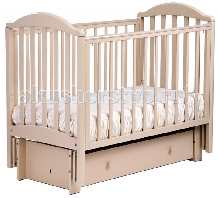 Детская кроватка Кубаньлесстрой АБ 17.3 Лилия маятник продольный с инкрустацией стразами Д003