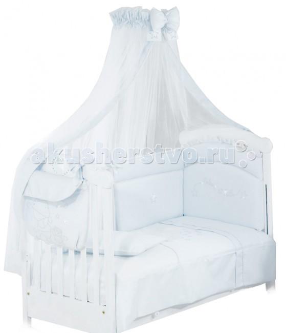 Комплект в кроватку Roman Baby Polvere Di Stelle (5 предметов)Polvere Di Stelle (5 предметов)Комплект Roman Baby Polvere Di Stelle со стразами обладает стильным дизайном, а в сочетании с отделкой из страз наполнит комнату нежностью и теплом и подарит малышу крепкий и здоровый сон.  Особенности: Материалы: 100% хлопок, нетоксичные краски Стразы, вшиты специальным способом, чтобы не травмировать кожу малыша  Комплектация: - Одеяло - Пододеяльник - Наволочка 40 х 60 см - Подушка 40 х 60 см - Бортик на половину кроватки  Размеры: Размеры одеяла (шхд) 100х135 см Размеры подушки (шхд) 40х60 см Размеры наволочки (шхд) 40х60 см  Размеры всех предметов максимально унифицированы и соответствует обычной детской кроватке с габаритами 125 х 65 см.<br>