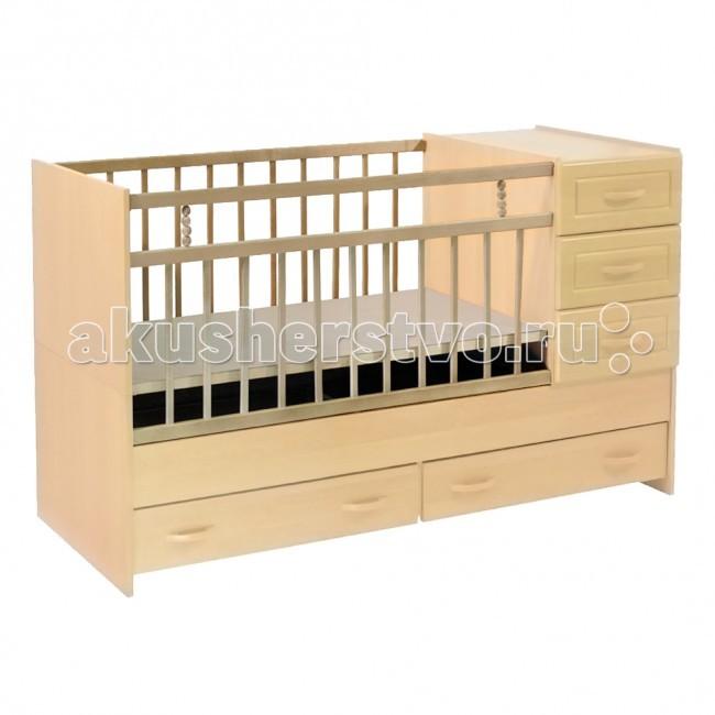 Кроватка-трансформер Ведрусс Раиса с комодомРаиса с комодомКроватка-трансформер Ведрусс Раиса с комодом  Мебельная фабрика Ведрусс - это качественная и доступная детская мебель российского производства. Покупая кроватку-трансформер этой фирмы, вы приобретаете мебель, в которой ваш ребенок сможет спать с самого рождения и до 10-летнего возраста.  Достоинства детской кроватки-трансформера Ведрусс Раиса: Стандартная по длине детская кроватка легко модифицируется в подростковую, размеры которой составляют 160х60 см.  Модель представляет собой спальное место, объединенное с удобным комодом, состоящим из трех полок.  Кроватка имеет классический лаконичный дизайн, который хорошо сочетается практически с любым интерьером.  Дно спального места можно регулировать по высоте, опуская его по мере того, как ваш малыш будет расти.  В нижней части кровати предусмотрены дополнительные ящики для хранения вещей или игрушек.  Съемный комод может также выполнять функции пеленального столика. А когда появится необходимость в удлинении, комод легко снимается и становится самостоятельным предметом интерьера.   Размер ложа: 120х60, 160х60 см Материал: ДСП, береза, МДФ<br>