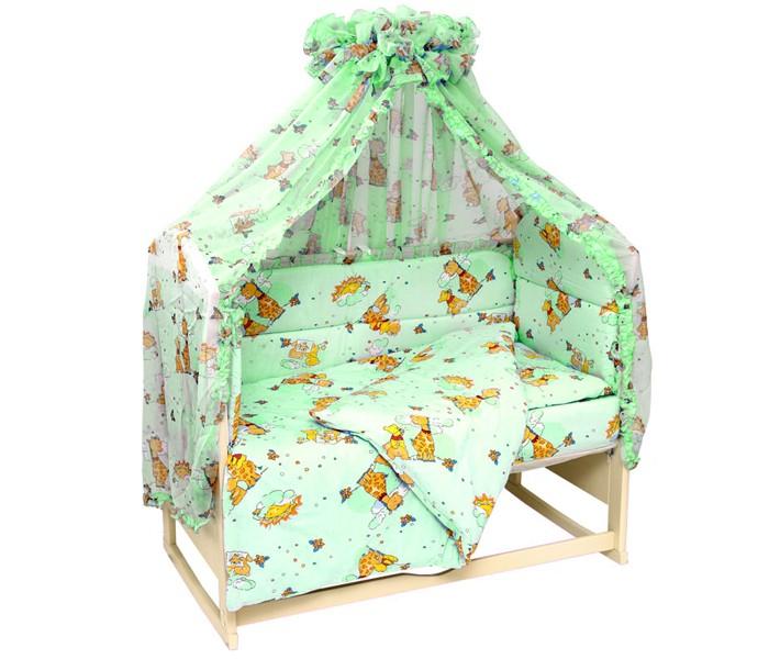 Комплект в кроватку Топотушки Жираф Вилли (7 предметов)Жираф Вилли (7 предметов)Комплект 7 предметов из импортной ткани 100% х/б (Европа): Балдахин 4,5м (вуаль с рисунком)  борт по периметру из 4-х частей - наполнитель холлофайбер,  подушка - наполнитель синтепон,  одеяло - наполнитель синтепон,  наволочка 40х60 см,  пододеяльник 147х112 см,  простыня 147х95 см.<br>