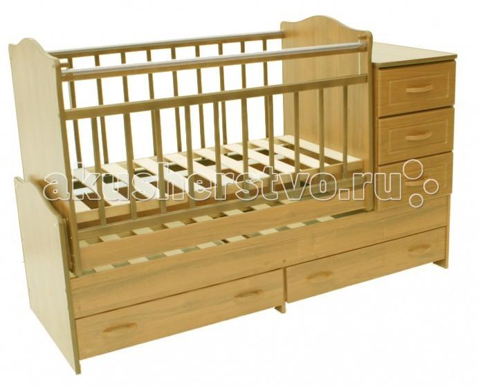 Кроватки-трансформеры Ведрусс Раиса с комодом маятник поперечный детская мебель