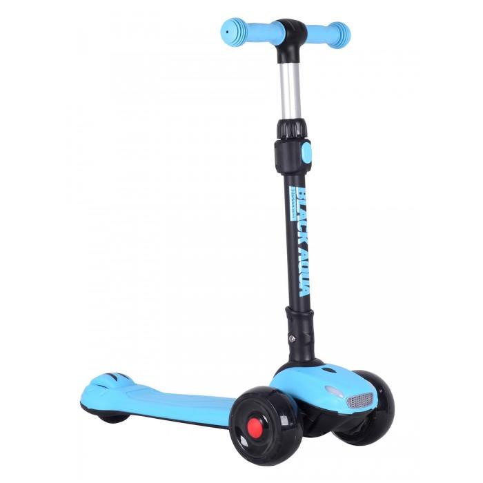Купить Трехколесные самокаты, Трехколесный самокат А.В.Т.Спорт Black Aqua со светящимися колёсами