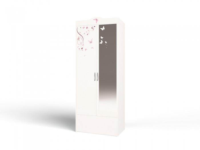 Шкафы ABC-King 2-х дверный Swarovski Фея со стразами с зеркалом и бабочками шкафы фея 2 х секционный