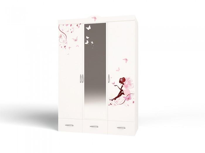 Шкафы ABC-King 3-х дверный Swarovski Фея с зеркалом и со стразами