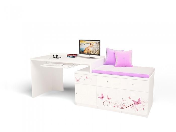 Купить Детские столы и стулья, ABC-King Стол модульный Г и Тумба 400+800 Swarovski Фея (левый)